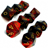 Black & Red Gemini D10 Ten Sided Dice Set